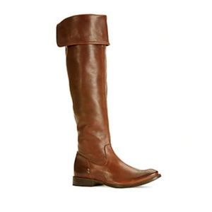 Frye Shirley Over the Knee Leather Boots in Brown